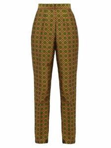 Saloni - Maxima High-rise Jacquard Trousers - Womens - Green Multi