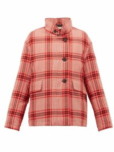 Marni - Checked Padded Wool Jacket - Womens - Pink Multi