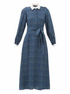 Beulah - Shalini Floral-print Silk Midi Dress - Womens - Blue Print