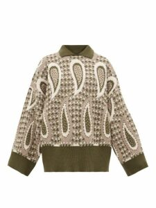 Jw Anderson - Point-collar Paisley-intarsia Wool Sweater - Womens - Multi