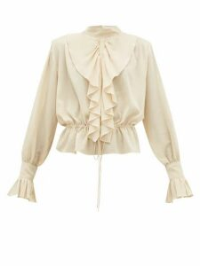JW Anderson - Ruffled Funnel-neck Cotton Crepe Blouse - Womens - Cream