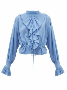 Jw Anderson - Ruffled Funnel-neck Cotton Crepe Blouse - Womens - Blue