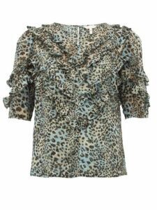 Rebecca Taylor - Ruffled Silk-blend Top - Womens - Leopard