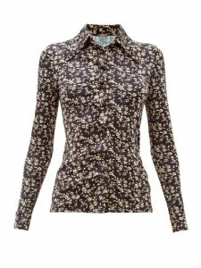 Dodo Bar Or - Paya Floral-print Stretch-jersey Shirt - Womens - Black White