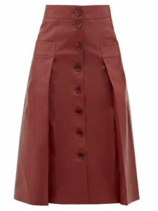 Dodo Bar Or - Galina Button-through Leather Skirt - Womens - Burgundy