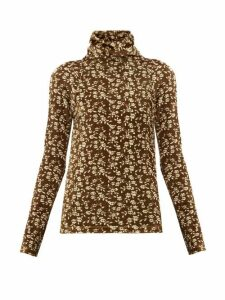Dodo Bar Or - Brenda Roll-neck Floral-print Velour Sweater - Womens - Khaki Multi