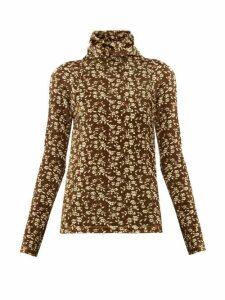 Dodo Bar Or - Brenda Roll-neck Floral-print Velour Sweater - Womens - Khaki Multi