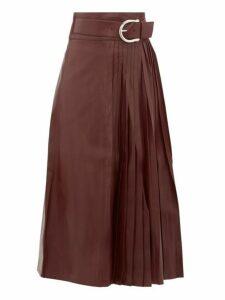 Dodo Bar Or - Estelle High-rise Belted Leather Kilt Midi Skirt - Womens - Burgundy