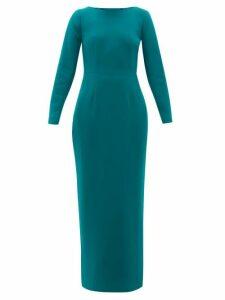 Rebecca De Ravenel - Jamie Scoop-neck Wool-crepe Maxi Dress - Womens - Dark Green