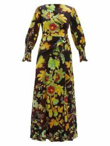 Peter Pilotto - Botanical-print Silk-blend Cloqué Maxi Dress - Womens - Brown Multi