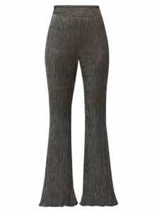 Peter Pilotto - Plissé Metallic Jersey Trousers - Womens - Black