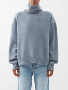 Raey - Cropped Displaced Sleeve Roll Neck Wool Sweater - Womens - Blue