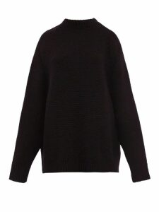 Raey - Crew Neck Basketweave Wool Sweater - Womens - Black