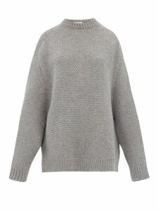 Raey - Crew Neck Basket Weave Wool Sweater - Womens - Grey Marl