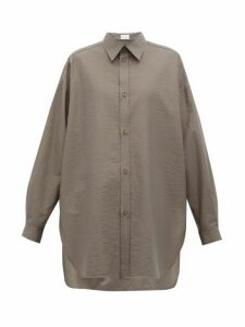 Raey - Oversized Crinkled Cotton-blend Shirt - Womens - Dark Grey