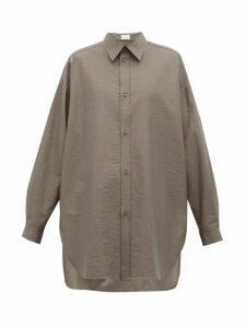 Raey - Oversized Crinkled Cotton-blend Shirt - Womens - Dark Grey