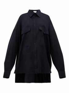 Raey - Oversized Chest-pocket Wool Shirt - Womens - Navy