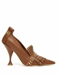Burberry - Goodall Studded Leather Pumps - Womens - Tan Gold