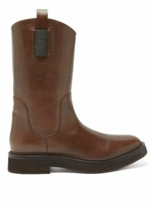 Brunello Cucinelli - Tread Sole Leather Boots - Womens - Tan