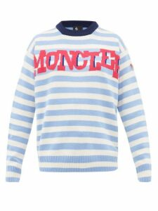 Moncler Grenoble - Logo Jacquard Striped Wool Blend Sweater - Womens - Blue Stripe