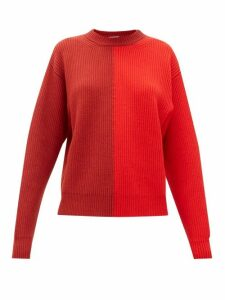 Vaara - Eliza Two-tone Ribbed Wool Sweater - Womens - Red Multi