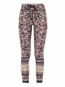 The Upside - Paisley-print Stretch-jersey Cropped Leggings - Womens - Blue Multi