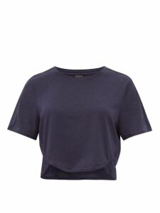 The Upside - Sofia Technical-jersey Cropped T-shirt - Womens - Navy