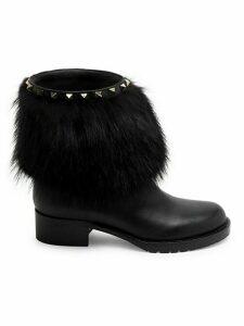 Valentino Garavani Raccoon Fur-Trim Studded Leather Boots