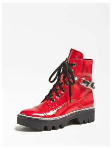 Guess Domain Patent-Look Combat Boots
