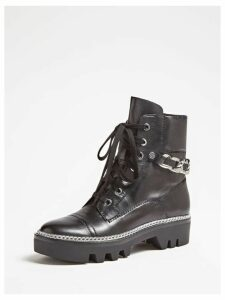 Guess Domain Real Leather Combat Boots