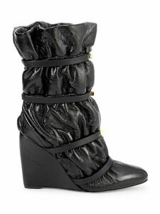Cinched Patent Leather & Shearling Wedge Boots