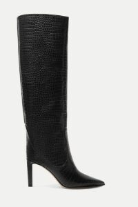Jimmy Choo - Mavis 85 Croc-effect Leather Knee Boots - Black