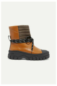 GANNI - Quilted Shell And Rubber-trimmed Leather Ankle Boots - Tan
