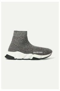Balenciaga - Speed Logo-print Metallic Stretch-knit High-top Sneakers - Gray