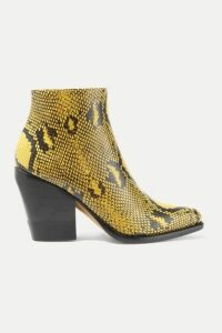 Chloé - Rylee Snake-effect Leather Ankle Boots - Mustard