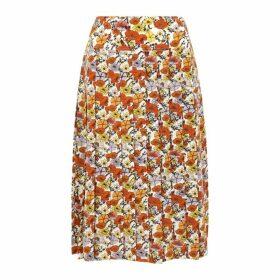 Tory Burch Floral-print Pleated Silk Skirt