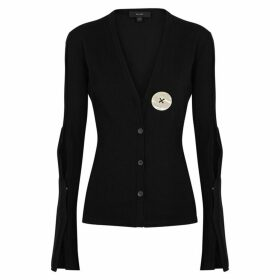 Ellery In Shape Black Stretch-knit Cardigan