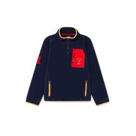 Hackett Army Polo Detail Half Zip Polar Fleece Sweater