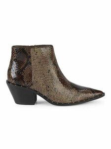Snakeskin Embossed Faux Leather Ankle Boots