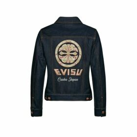 Evisu Denim Jacket With Kamon Velour Appliqu And Embroidery