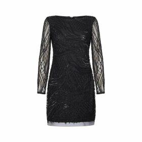 Adrianna Papell Beaded Long Sleeve Dress