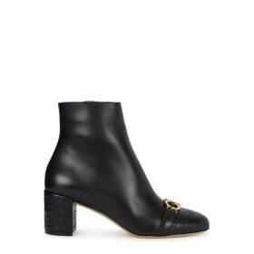 Salvatore Ferragamo Primula 55 Black Leather Ankle Boots