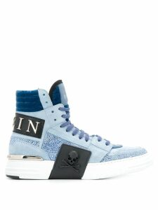 Philipp Plein logo hi-top sneakers - Blue