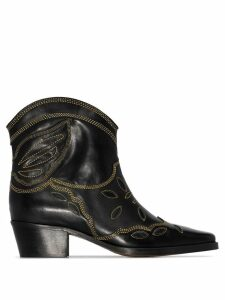 Ganni low Texas 40mm cowboy boots - Black