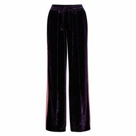 Serena Bute Purple Striped Velvet Sweatpants