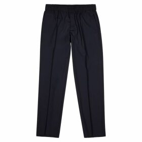 Emporio Armani Navy Wool-blend Trousers