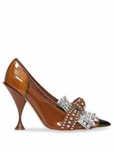 Burberry crystal-embellished fringed pumps - Brown
