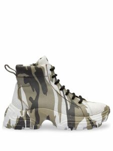 Miu Miu crackled camouflage high-top sneakers - Green