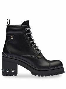 Miu Miu crystal studded platform booties - Black