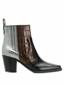Ganni snakeskin boots - Brown